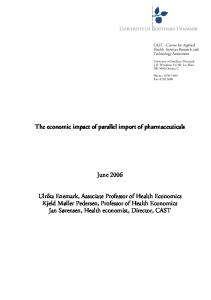 The economic impact of parallel import of pharmaceuticals