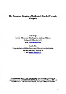 The Economic Situation of Individual (Family) Farms in Hungary