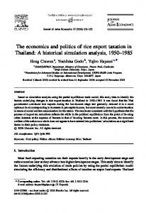The economics and politics of rice export taxation in Thailand: A historical simulation analysis,