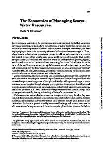 The Economics of Managing Scarce Water Resources
