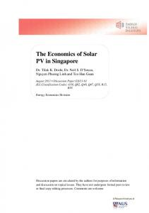 The Economics of Solar PV in Singapore