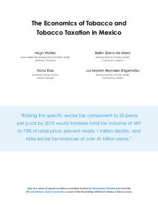 The Economics of Tobacco and Tobacco Taxation in Mexico