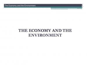 The Economy and the Environment THE ECONOMY AND THE