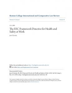 The EEC Framework Directive for Health and Safety at Work