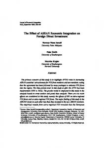 The Effect of ASEAN Economic Integration on Foreign Direct Investment