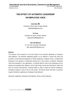 THE EFFECT OF AUTHENTIC LEADERSHIP ON EMPLOYEE VOICE