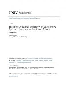 The Effect Of Balance Training With an Innovative Approach Compared to Traditional Balance Exercises