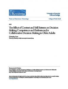 The Effect of Context and Self-Esteem on Decision Making Competence and Preferences for Collaborative Decision Making in Older Adults
