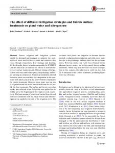 The effect of different fertigation strategies and furrow surface treatments on plant water and nitrogen use