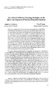 The Effect of Different Teaching Strategies on the Moral Development of Physical Education Students