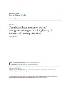 The effect of direct instruction and selfmanagement strategies on writing fluency of students with learning disabilities