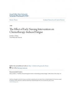 The Effect of Early Nursing Intervention on Chemotherapy-Induced Fatigue
