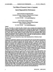 The Effect of Financial Crisis in Corporate Social Responsibility Performance