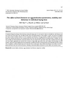 The effect of keel fractures on egg-production parameters, mobility and behaviour in individual laying hens