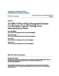 The Effect Of Knowledge Management Systems On Absorptive Capacity: Findings From International Law Firms