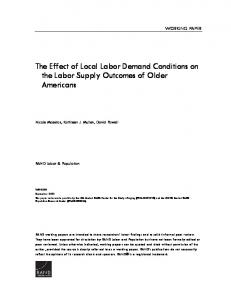 The Effect of Local Labor Demand Conditions on the Labor Supply Outcomes of Older Americans