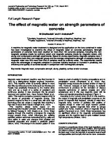 The effect of magnetic water on strength parameters of concrete