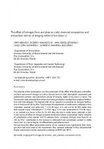 The effect of nitrogen form and dose on yield, chemical composition and antioxidant activity of stinging nettle (Urtica dioica L.)