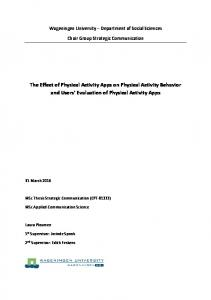 The Effect of Physical Activity Apps on Physical Activity Behavior and Users Evaluation of Physical Activity Apps