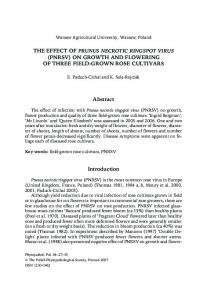 THE EFFECT OF PRUNUS NECROTIC RINGSPOT VIRUS (PNRSV) ON GROWTH AND FLOWERING OF THREE FIELD-GROWN ROSE CULTIVARS. Abstract