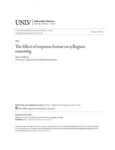 The Effect of response format on syllogistic reasoning
