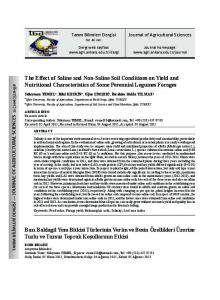 The Effect of Saline and Non-Saline Soil Conditions on Yield and Nutritional Characteristics of Some Perennial Legumes Forages
