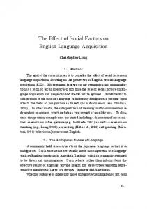 The Effect of Social Factors on English Language Acquisition