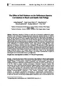 The Effect of Soil Moisture on the Reflectance Spectra Correlations in Beech and Sessile Oak Foliage