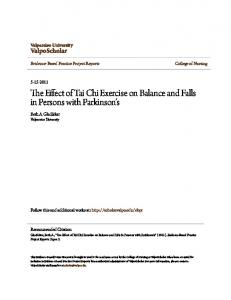 The Effect of Tai Chi Exercise on Balance and Falls in Persons with Parkinson s