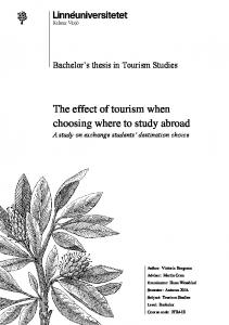 The effect of tourism when choosing where to study abroad