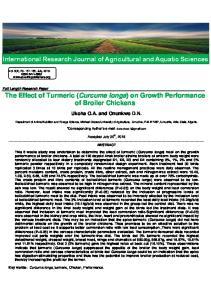 The Effect of Turmeric (Curcuma longa) on Growth Performance of Broiler Chickens