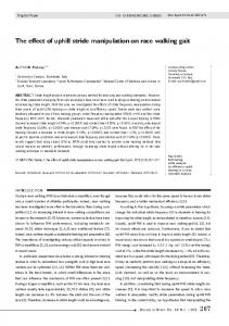 The effect of uphill stride manipulation on race walking gait