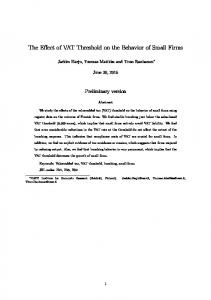 The Effect of VAT Threshold on the Behavior of Small Firms