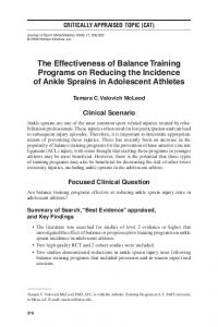 The Effectiveness of Balance Training Programs on Reducing the Incidence of Ankle Sprains in Adolescent Athletes