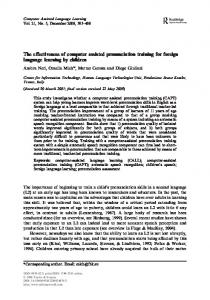 The effectiveness of computer assisted pronunciation training for foreign language learning by children