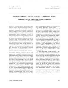 The Effectiveness of Creativity Training: A Quantitative Review