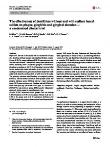 The effectiveness of dentifrices without and with sodium lauryl sulfate on plaque, gingivitis and gingival abrasion a randomized clinical trial
