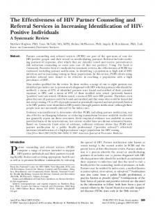 The Effectiveness of HIV Partner Counseling and Referral Services in Increasing Identification of HIV- Positive Individuals A Systematic Review