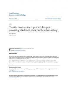 The effectiveness of occupational therapy in preventing childhood obesity in the school setting