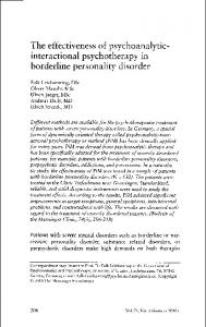 The effectiveness of psychoanalyticinteractional. borderline personality disorder