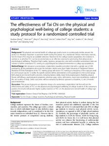 The effectiveness of Tai Chi on the physical and psychological well-being of college students: a study protocol for a randomized controlled trial