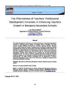 The Effectiveness of Teachers Professional Development Initiatives in Enhancing Teachers Growth in Botswana Secondary Schools