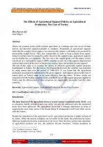 The Effects of Agricultural Support Policies on Agricultural Production: The Case of Turkey