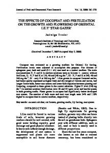 THE EFFECTS OF COCOPEAT AND FERTILIZATION ON THE GROWTH AND FLOWERING OF ORIENTAL LILY STAR GAZER
