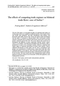 The effects of competing trade regimes on bilateral trade flows: case of Serbia *, 1