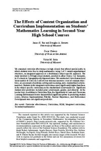 The Effects of Content Organization and Curriculum Implementation on Students Mathematics Learning in Second-Year High School Courses