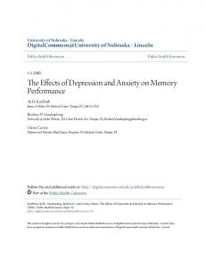 The Effects of Depression and Anxiety on Memory Performance