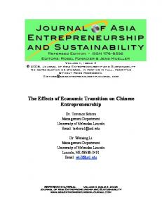 The Effects of Economic Transition on Chinese Entrepreneurship