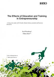 The Effects of Education and Training in Entrepreneurship