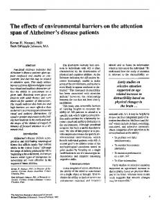 The effects of environmental barriers on the attention span of Alzheimer's disease patients